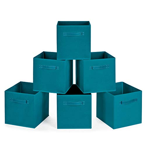 MaidMAX Cloth Storage Bins, Set of 6 Foldable Collapsible Fabric Cubes Organizers Basket with Dual Plastic Handles for Gift, Teal ()
