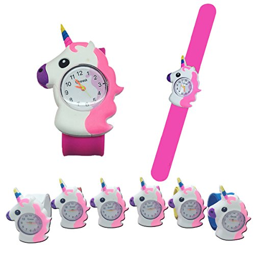 Mcree 1-Pc Unicorn Slap Watch Bracelet Silicone Wristbands, Funny Party Supplies Kids Party Favors Decor Novelty Toy School Prize Gifts Children Goodie Bag Fillers, in 1 Colors (Watch Slap)
