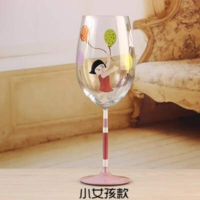 Hand painted Frosted glass colored drawing red wine cup fashion american style crystal bird fish girl creative gifts home decor