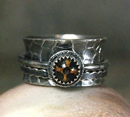 (Turtle Eyeball Spinner Ring in Sterling Silver Unique One of a Kind Jewelry)