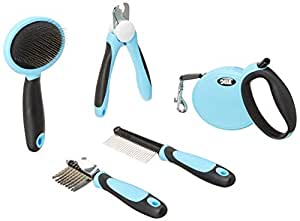 DELE Pet Dog Cat Grooming Tools Kit 5 in 1 Box Set, Pin Comb, Nail Clipper, Slicker Brush, Dematting Comb with 3M Retractable Dog Leash for Medium/Small Pet Dogs Puppies Cats Gift for Your Pets (Blue)