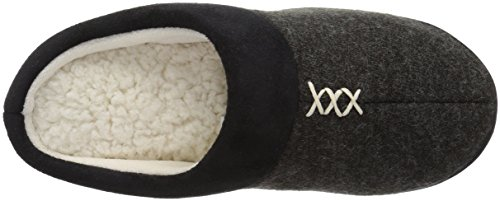 Pantofola Isotoner Da Donna In Pelle Scamosciata Marisol Nera Con Lavorazione Microsuede