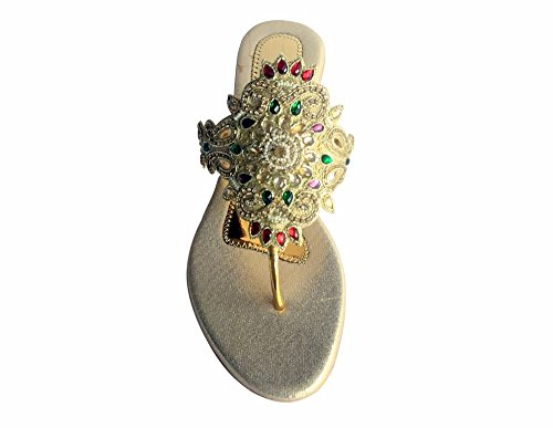 Schritt N Style Frauen Bohemia Sandalen Flip Flops Badeschuhe Perlen flach Khussa Schuhe jutti Gold Multi