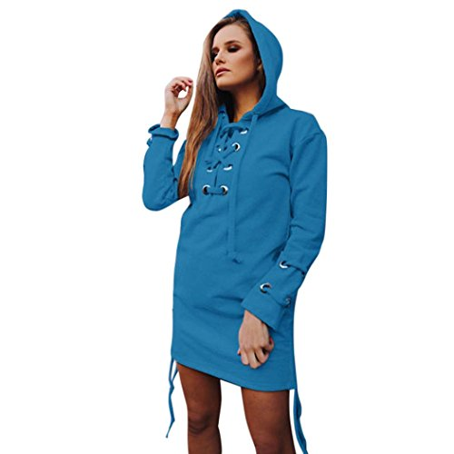 Hunputa Fashion Women Ladies Hooded Bandage Lace up Long Sweatshirt Pullover Pullover Hoodie Tops Blouse (XL, Blue)