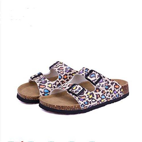 Open Strap Footbed 14 Casual Slide Women's Toe On Sandals Buckle Cork Sandals Sandal YaMiFan xvO4B