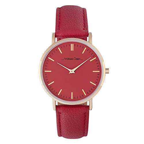 Andreas Osten Unisex Quartz Watch 36 mm Red Dial and Red PU Bracelet AOW18026