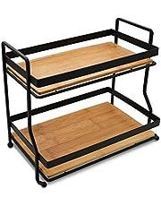 AQ Wire 2 Tier Vanity Storage Tray, Matte Black & Bamboo