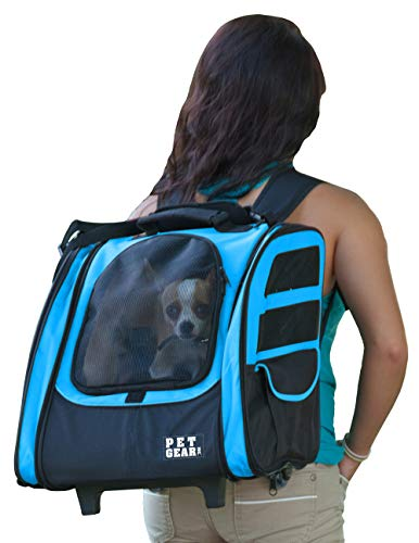 Pet Gear I-GO2 Roller Backpack, Travel Carrier, Car Seat for Cats/Dogs, Mesh Ventilation, Included Tether, Telescoping Handle, Storage - Enclosed Gear