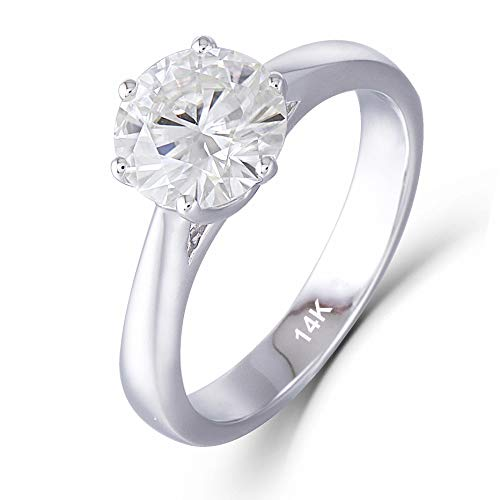 DOVEGGS 14K White Gold 1.5ct 7.5mm H-I Color Near Colorless Heart Arrows Cut Moissanite Engagement Ring 2.8mm Band Width(6.5)