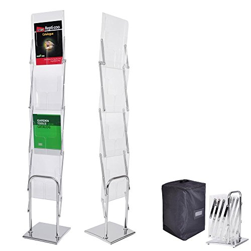 CHIMAERA Portable Collapsible 4-Pocket Clear View Brochure Literature Rack Stand with Travel Case by CHIMAERA