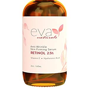 Retinol Serum 2.5% by Eva Naturals (2 oz, Double-Sized Bottle) - Best Anti-Aging Serum, Minimizes Wrinkles, Helps Prevent Sun Damage, and Fades Dark Spots - Vitamin A Retinol with Hyaluronic Acid