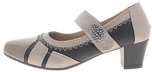 ChaussMoi Negro y Gris Zapatos Cómodos Tacones Pequeños DE 4,5 cm y ALA Ancha
