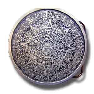 Pewter Belt Buckle Aztec Calendar - Aztec Calendar Buckle - Brown - Pewter Belt Buckle