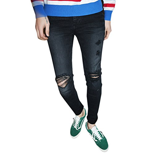 Mokewen-Mens-Hole-Knee-Destroyed-Damage-Ripped-Capri-Jeans