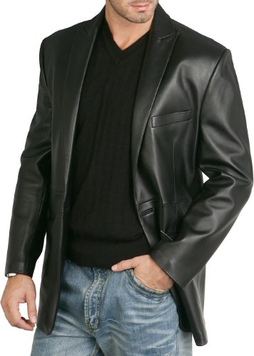 - BGSD Men's Judd One-Button Lambskin Leather Blazer - XL Black