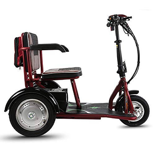- PinkDreamland Adult Electric Three-Wheel Folding Scooter with a Cruising Range of 18 Miles for The Elderly or Disabled