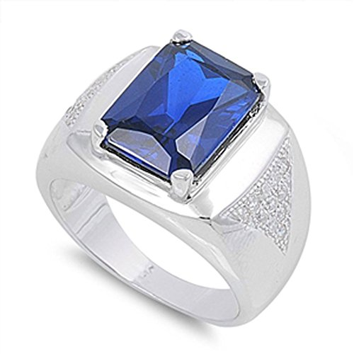 Sterling Silver Simulated Sapphire Classic