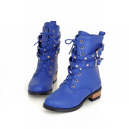 Martin Chunky Heel Buckle Low Casual Shoes Blue Fashion Lace Ankle Carol Boots Studded up Womens zx47qwgwZ
