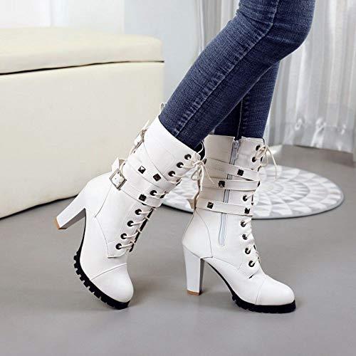 Talon boucles Lacets Bottes brides Haut Blanc Coolcept cow Biker boy Clouté Motard Femmes Style Ztn4q