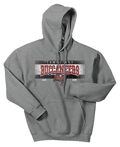 Zubaz NFL Tampa Bay Buccaneers Men's Banner Logo Hoodie, Large, Gray