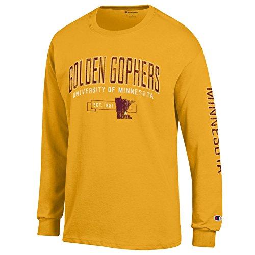 NCAA Minnesota Golden Gophers Men's Champion Men's Fair Catch Long sleeve T-Shirt, Large, Gold Minnesota Golden Gophers Tailgate