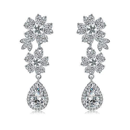 WeimanJewelry White/Yellow Gold Plated Bridal CZ Heart Cut Flower Cubic Zirconia Teardrop Pendant Dangle Earrings for Women Wedding ()