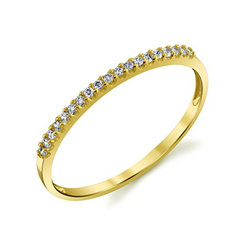 10k Yellow Gold Lightweight Dainty CZ Wedding Stackable Band Size 4.5