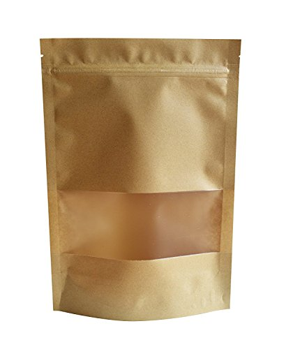 (51groups Kraft Paper Bag with Transparent Window(50-Pack) Dry Food Snack Storage | Home, DIY, Commercial Use | Store Coffee, Tea Leaves, Nut, Candy | Food-Grade Safe (5.5