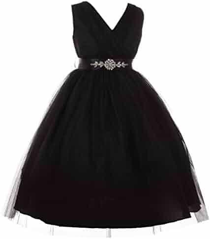 6a11284fe6a Dreamer P Little Girls V Neck Shiny Tulle Dazzling Rhinestone Pageant Flower  Girl Dress