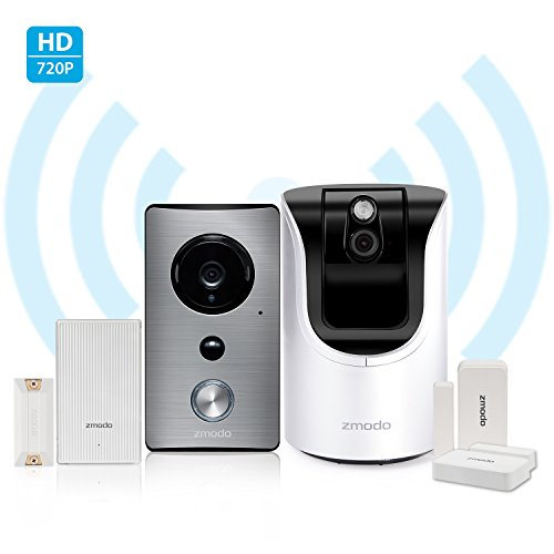 Zmodo All-in-One Home Solution-Zmodo Greet WiFi Video Doorbell w Zmodo Pan Tilt 720p HD Security Camera Beam Smart Hub and WiFi Extender and DoorWindow Sensor2 Pack