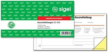 SIGEL SD008 Kurzmitteilungsblock 1/3 A4 quer, 2x40 Blatt, selbstdurchschreibend, 1 Stück