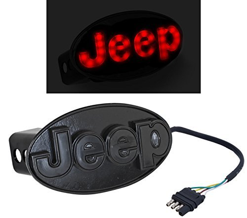 Light Up Hitch Cover - Blue Oval Industries Jeep Truck Rear Towing Hitch Black & Red Light Up LED Emblem