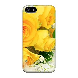5/5s Scratch-proof Protection Case Cover For Iphone/ Hot Delicate Yellow Roses Phone Case