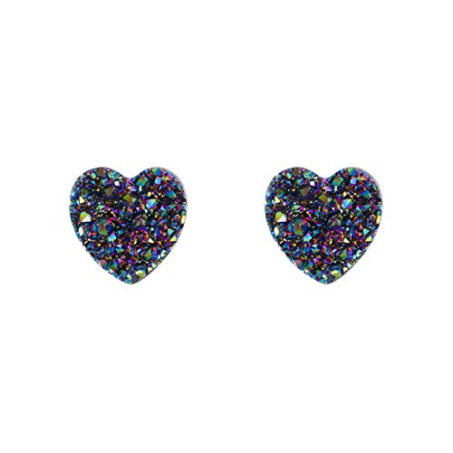 EleQueen Women's 925 Sterling Silver Multicolor Druzy Gemstone Heart Shape Violet Stud Earrings ()