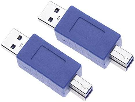 2 Piezas USB 3.0 Macho A Adaptador De Impresora Macho R?pida Impresora USB AAB Enchufe Para Conector Convertidor HP, Dell, Epson, Canon, Lexmark, ...