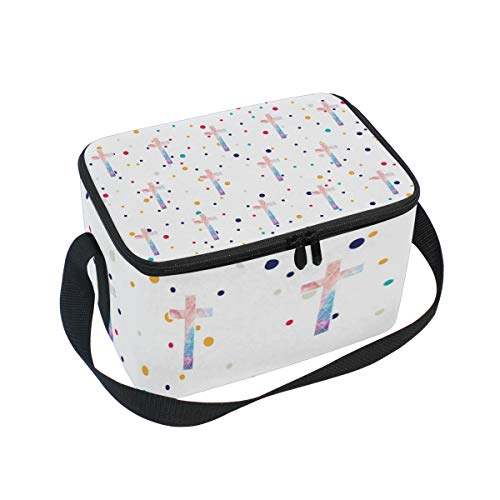 Lunch Bag Christian Cross, Large Insulated Bento Cooler Box with Black Shoulder Strap for Men Women Kids, BaLin 10