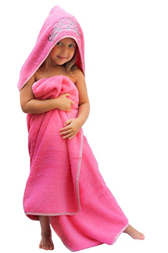 "Princess Hooded Bath Towel - Ultra-Homes Princess Hooded Kid Towel (Pink), 27.5"" x 49"", Plush and Absorbent Luxury Bath Towel! 600 GSM, 100% Cotton"