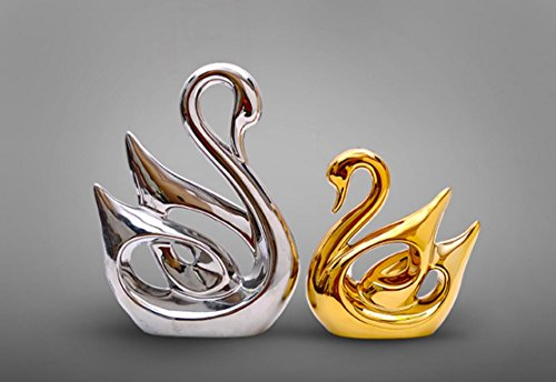 Ceramic Crafts Modern Home Living Room Wine Cabinet Bedroom Decoration Wedding Gift Decoration Creative Couple Swan Jingdezhen Ceramics Home Decoration Gift Boutique (Silver (Large)Gold(small)) (Couple Ceramic)