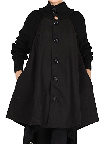 Mordenmiss Women's Knit Sleeves Wool Coat Turtleneck Button Down Overcoat S Black ()