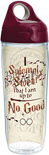 Tervis 1257580 Harry Potter-I Solemnly Swear That I Am up to No Good Insulated Tumbler with Wrap and Maroon Lid, 24oz Water Bottle, Clear