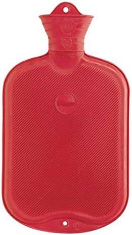 Wärmflasche Faba Care by Sänger 2 L Gummi, Naturgummi, 1 Seite Lamellen, Premium Gummiwärmflasche, Rot