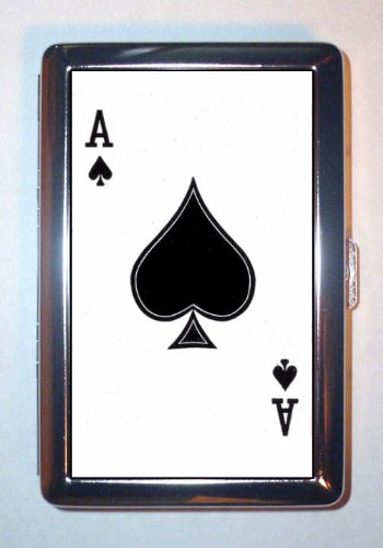 Ace of Spades Playing Card Poker Gambling Death Stainless Steel ID or Cigarettes Case (King Size or 100mm) (Playing Case Steel Card)