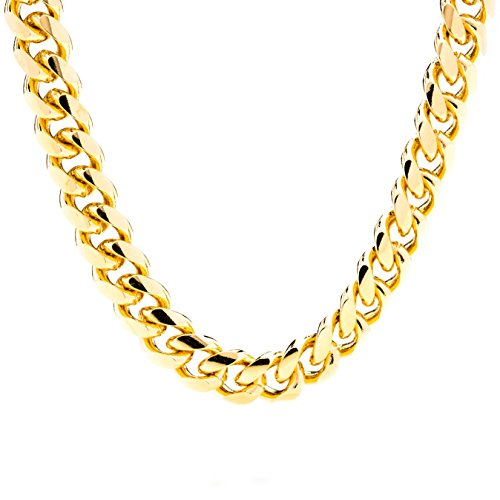 Lifetime Jewelry Cuban Link Chain 11MM Round 24K Gold Plated Thick Necklace Guaranteed for Life Long 36 Inches