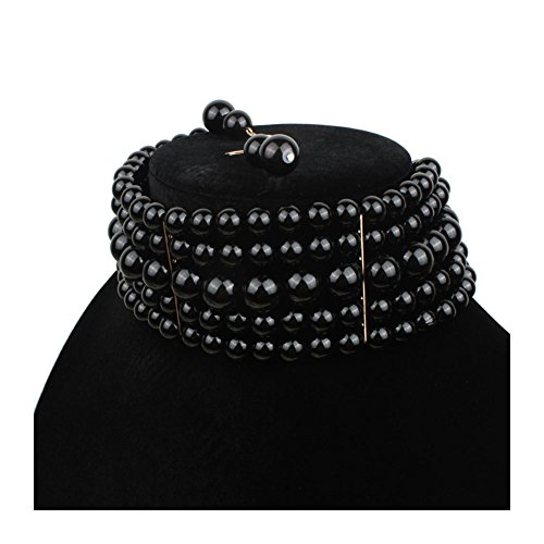 Ufraky Women Elegant Multi Strand Simulated Pearl Choker Necklaces and Earring Set ()