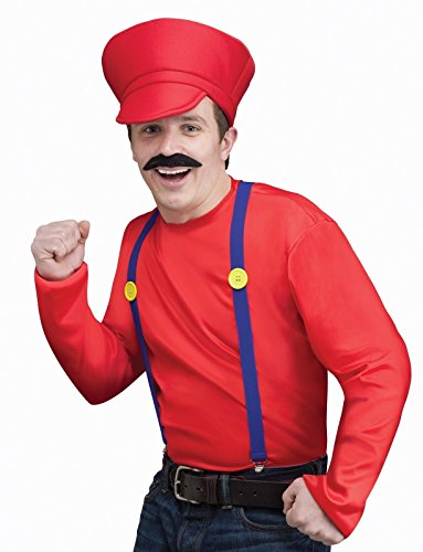 Fun World Mens's Video Game Guy Kit Mario Luigi Red Green Standard Adult Costume (Red)