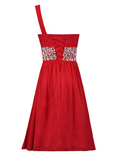 Chiffon Red Bead Homecoming Cocktail Shoulder ANTS Dress Gown One Short wxAqFnaBz