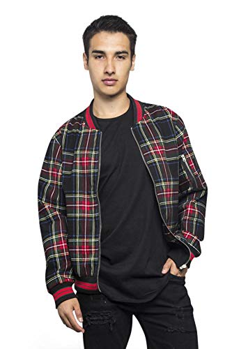 Victorious Men's Plaid Striped Collar Arm and Inner Pocket Bomber Jacket JK5015 - Black - Small - Q1D