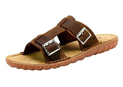 dqq Hombre Crazy Horse lado de cuero Slip On Sandalia marrón
