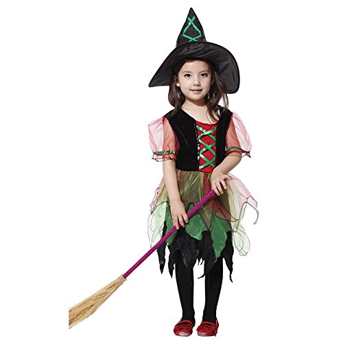 Halloween dress up costume,children Cosplay witch dress + hat skirt (L) (Curvy Halloween Costumes)