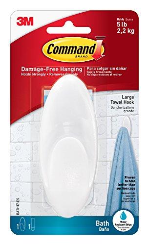 Command BATH17-ES-E 051141958392 Towel, Clear Frosted, 1-Hook, 1-Large Water-Resistant Strip (BATH17-ES)